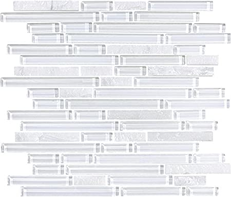 30 Square Feet Bliss Norwegian Ice White Stone and Glass Strip Mosaic Tiles Rocky Point Tile