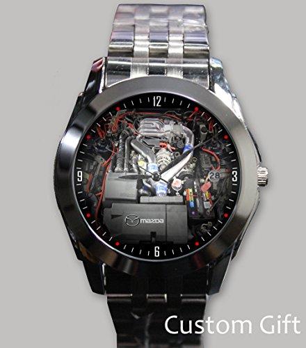 logo-mazda-rx7-turbo-engine-custom-wristwatch-silver-alloy-band-stainless-steel-watch
