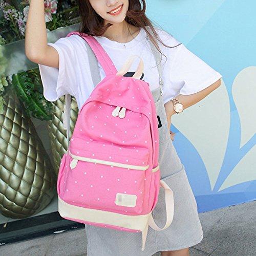 Las Mujeres Las Niñas De La Moda Punto Mochila 3 Piezas De Los Conjuntos De Viaje Mochila Bolsa De La Escuela Bolsas Saténes Multicolor Pink