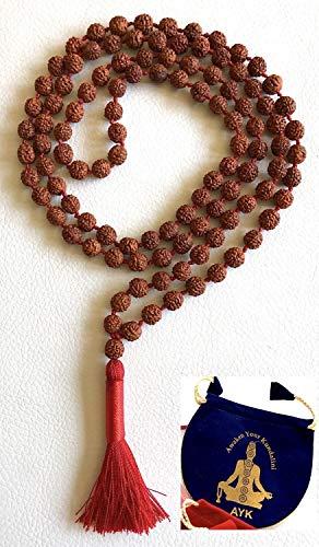 - Rudraksha Rudraksh mala beads divine necklace 6 mm 108+1 meditation prayer beads 5 faceted 5 mukhi - spiritually energized hand knotted mala for nirvana w/free Velvet Rosary Pouch - US Seller