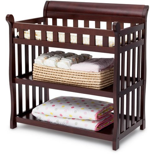 Delta Children's Products Eclipse Changing Table - Dark Chocolate - Nursery Room - Nursery Furniture - 2 Fixed Shelves - Made of Solid Wood and Wood Composites - Non-toxic Finish - Meets Government ASTM Safety Standards