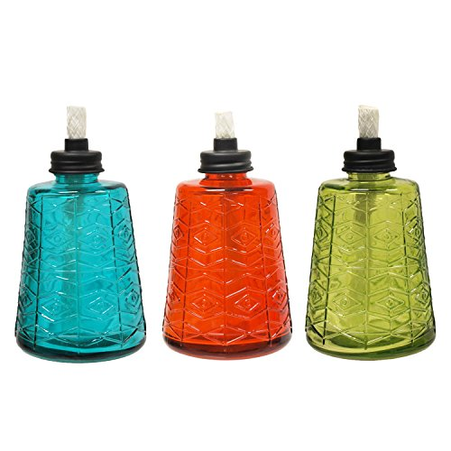 TIKI-Brand-111511868-Molded-Glass-Table-Torches-3-Pack-Small-Multicolor