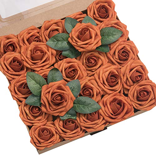 Ling's moment Artificial Flowers Burnt Orange Roses 50pcs Real Looking Fake Roses w/Stem for DIY Wedding Bouquets Centerpieces Arrangements Party Baby Shower Home -