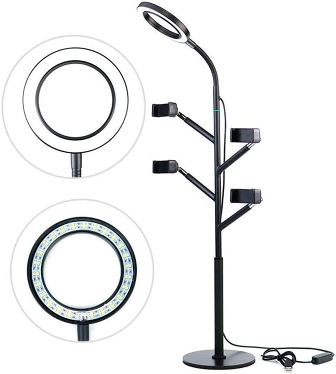 DHINGM Dimmable LED Ring Light with Bracket Fill Light for Video Shooting Makeup Self-Timer 360 Rotating USB for Current Media Light