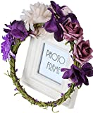 Vivivalue Christmas Boho Handmade Flower Crown Hair Wreath Halo Floral Garland Headband Headpiece with Ribbon Festival Wedding Purple