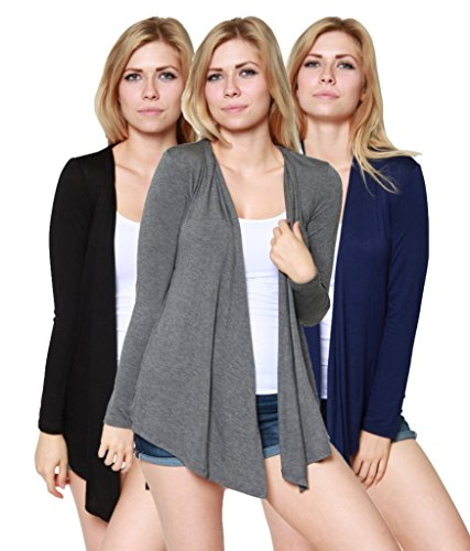 Free to Live Women's Open Front Cardigans, Black/Charcoal/Navy, Medium (Pack of 3)