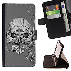 For Samsung Galaxy S5 V SM-G900 Art Robot Skull Music Microphone Style PU Leather Case Wallet Flip Stand Flap Closure Cover