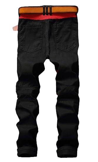 Enrica Mens Ripped Straight Slim Moto Biker Jeans