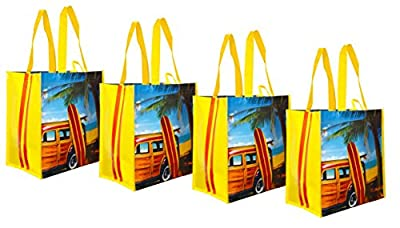 "Earthwise ""Woodie"" Reusable Shopping Bag Tote ( 4 Pack)"