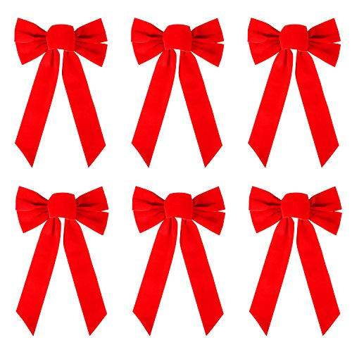 (Resinta 6 Pack Red Velvet Christmas Bow for Holiday Christmas Decoration or Home Décor, 10 Inch by 16 Inch (6))