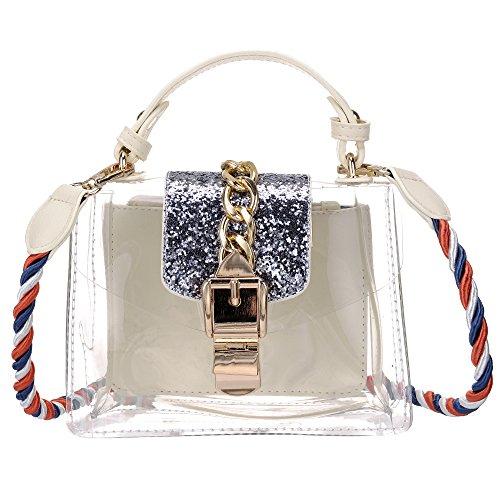 Women's Crossbody Clear Messenger Bags Transparent Onfashion Shoulder Handbag Bag Beige 2 dwqIxSC6x