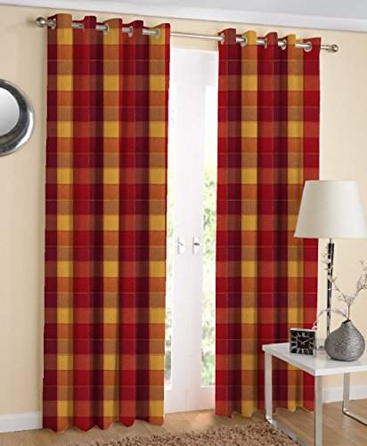 AIRWILL Cotton Handloom Weaved 4 x 5 ft Window Curtains, Red - Pack of 2 Pieces (B07LBK23N7) Amazon Price History, Amazon Price Tracker