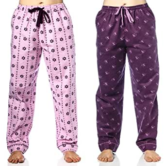 Womens Flannel Lounge Pants 2-Pack - Hats N Gloves Lilac/Swan Purple - X-Large