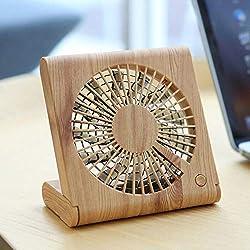 Maikouhai Wood Grain Desktop Fan Portable Mini Silent USB Charging Electric Cooling Fan - DC 3.7V-5.0V, 4.5W, Battery Capacity 1200mAh, ABS Material, 13.9x2x22CM (A)