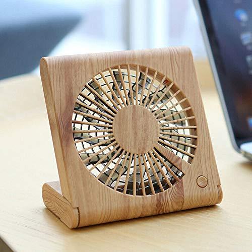 (Maikouhai Wood Grain Desktop Fan Portable Mini Silent USB Charging Electric Cooling Fan - DC 3.7V-5.0V, 4.5W, Battery Capacity 1200mAh, ABS Material, 13.9x2x22CM (A))