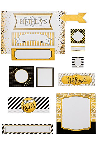 Renewing Minds Glimmer of Gold Class Labels Bulletin Board Set, 15 - Collection Glimmer