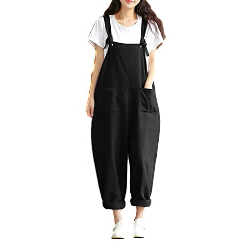 922065a6c984 Helisopus Women s Plus Size Linen Overalls Baggy Adjustable Strap  Sleeveless Jumpsuits Casual Loose Wide Leg Dungarees