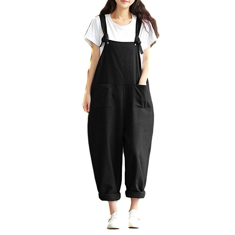 Helisopus Women's Linen Overalls Baggy Adjustable Strap Jumpsuits Casual Loose Wide Leg Rompers
