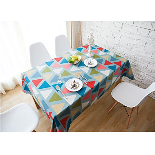 Pool Tablecloth Triangles (dream_home Mediterranean Style Square Polyester Tablecloth - MeMoreCool Triangle Pattern Home Table Decor 55 x 55 Inch)