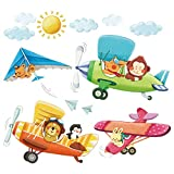 Decowall DA-1506B 3 Animal Biplanes Peel and Stick Nursery Kids Wall Decals Stickers