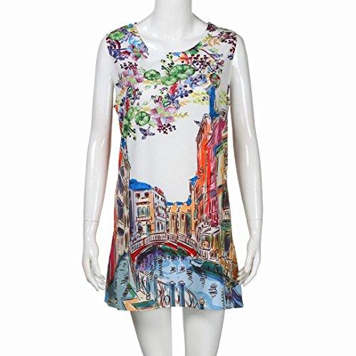 Printed Short Dress Women Floral Vintage G Boho Summer Beach With Tian Sleeveless Dress Printed Female White Sleeveless B Small Mini wSqA4