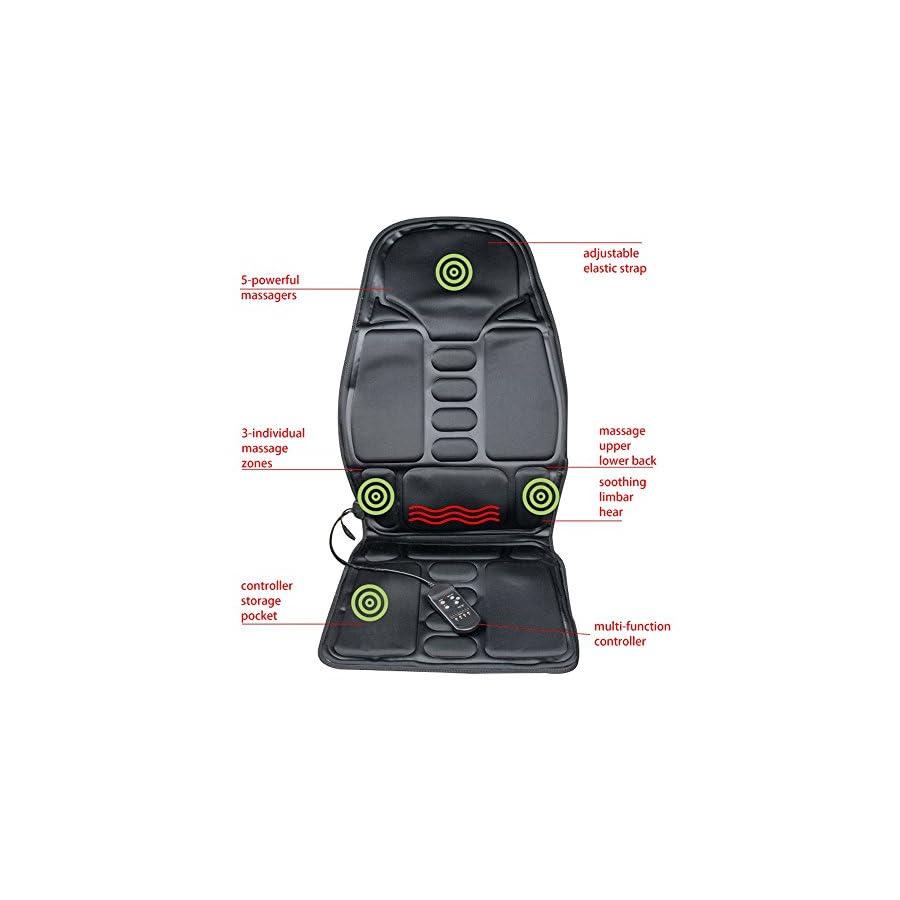 Finlon Vibration Back Massage Seat Massaging Cushion with Heat and Vibrating – Massage Full Back, Neck, Shoulder Thigh (Black)