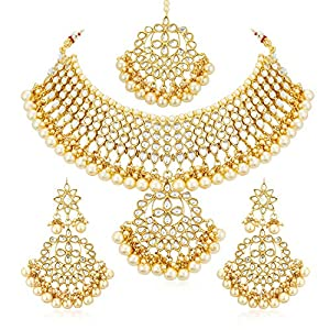 Sukkhi Trendy Kundan Gold Plated Wedding Jewellery Pearl Choker Necklace Set for Women (N73544)