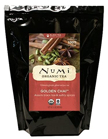 Numi Organic Tea Golden Chai, Loose Leaf Spiced Black Tea, 16 Ounce Bulk Pouch (Pack of 2) - Numi Black Organic Tea