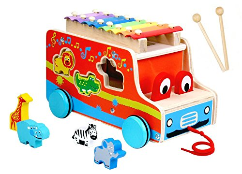 Pull Along Xylophone, Baby Push Pull Mallets Instrument Vehicle, Wooden Bus Toy, 3D Animal Shape Sorter Puzzle Gift, Educational Learning Toys for 1, 2, 3, 4 Year Olds Baby, Infants, (Infant 3 D Puzzle)