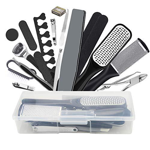 Pedicure Kit Foot File Rasp Set 22 in 1,Professional Pedicure Tool Set-Removing Hard/Cracked/Dead Skin Callus Corn Remover Foot Scraper,Stainless Steel Foot Care Tools for Men Women Gift