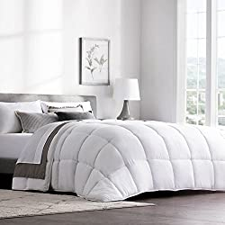 WEEKENDER Quilted Down Alternative Hotel-Style Comforter - Use as Duvet Insert or Stand-Alone Comforter - Hypoallergenic - Great for All Seasons - Corner Duvet Tabs - King - Classic White