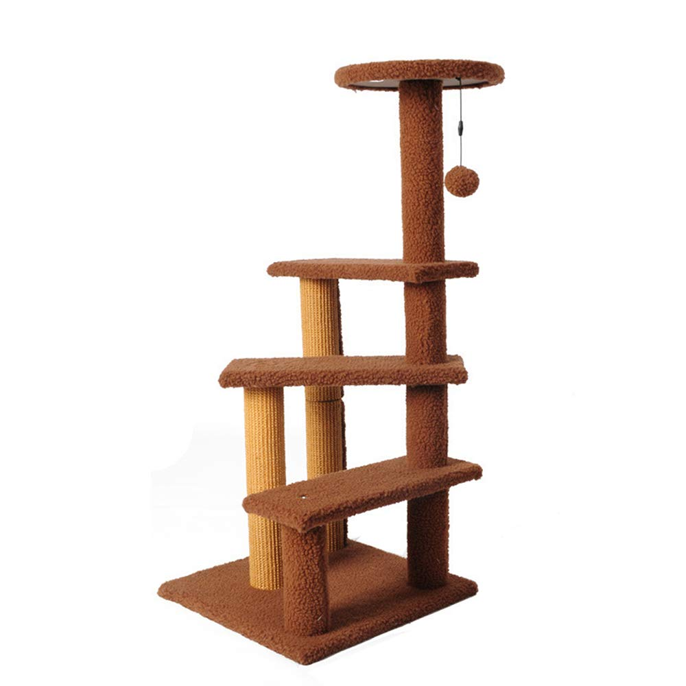 HU Cat Tree Lamb Velvet Comfort Soft Activity Center Strong And Wear Resistant Sea Grass Column Pet Climbing Frame