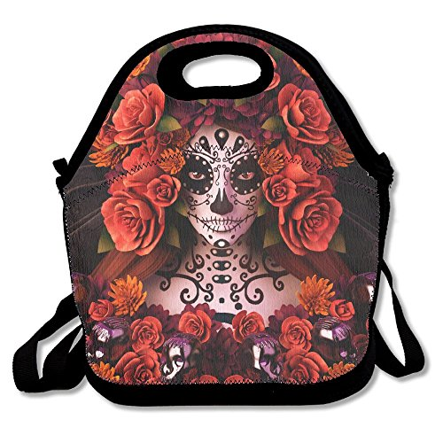 Most Fashion Maker Sugar Skulls Roses Day Dead Halloween Lunch Bags Insulated Travel Picnic Lunchbox Tote Handbag Shoulder Strap Women Teens Girls Kids Adults -