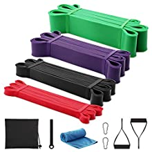 GRM Resistance Bands Exercise Workout Bands Pull up Assist Bands Stretch Heavy Duty Bands for Body Stretching Mobility Powerlifting Bands (Set of 4) (Set of 4 Bands with Handles)