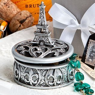 (Eiffel Tower design curio box favors, 72 by Fashioncraft)