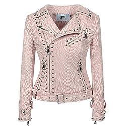Rivet Studded Asymmetric Snake Pink Biker Jacket
