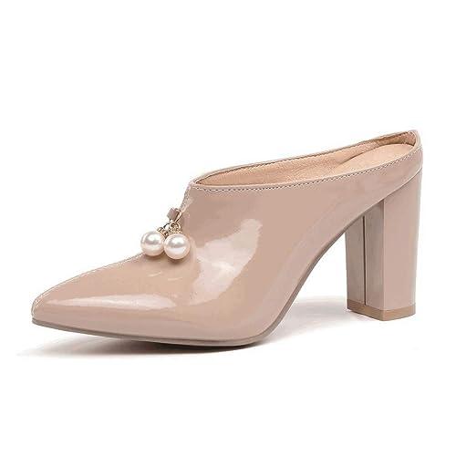 de3697a0f5efe Amazon.com | JOYBI Women's Mules Pump Shoes Backless Faux Leather ...