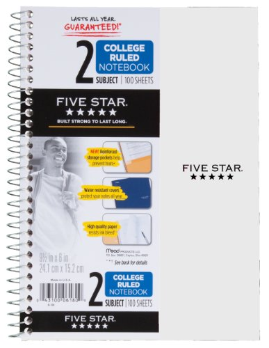 Five Star Wirebound Notebook, 2-Subject, 100 College-Ruled Sheets, 9.5 x 6 Inch Sheet Size, White (72450)