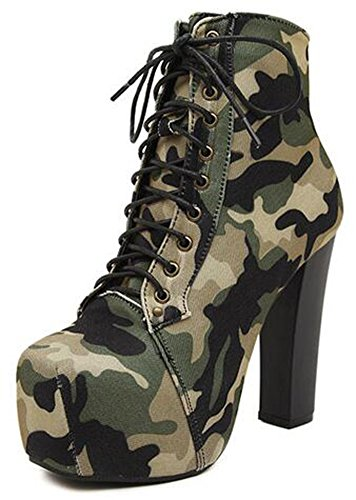 IDIFU Womens Trendy Camouflage High Chunky Heels Platform Lace Up Ankle Boots Martin Booties Army Green