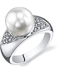 Majestic Freshwater Cultured White Pearl Ring (8.5-9mm) Sterling Silver CZ Accent Sizes 5 to 9