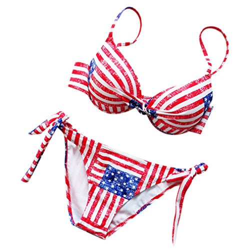 SAYM Women's Fashion Steel Toby Gini American Flag Print Bikini Suit Red XXX-Large