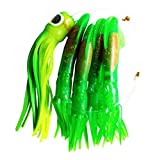 """Krazywolf Green Custom Made Daisy Chain Surface Teaser,4 x Sea Squid 9"""" and 1 x Softhead Pusher Review"""