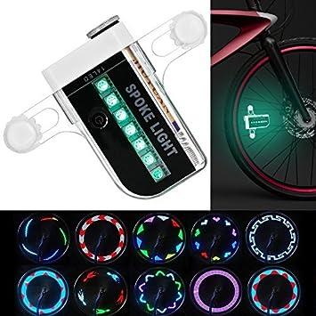 KEKU Bicicleta de Rueda LED Impermeable 14 Coloridos LED Rayos de luz para la Noche de Halloween, Montar al Aire Libre con 30 Cambios de patrón Diferente.: Amazon.es: Deportes y aire libre