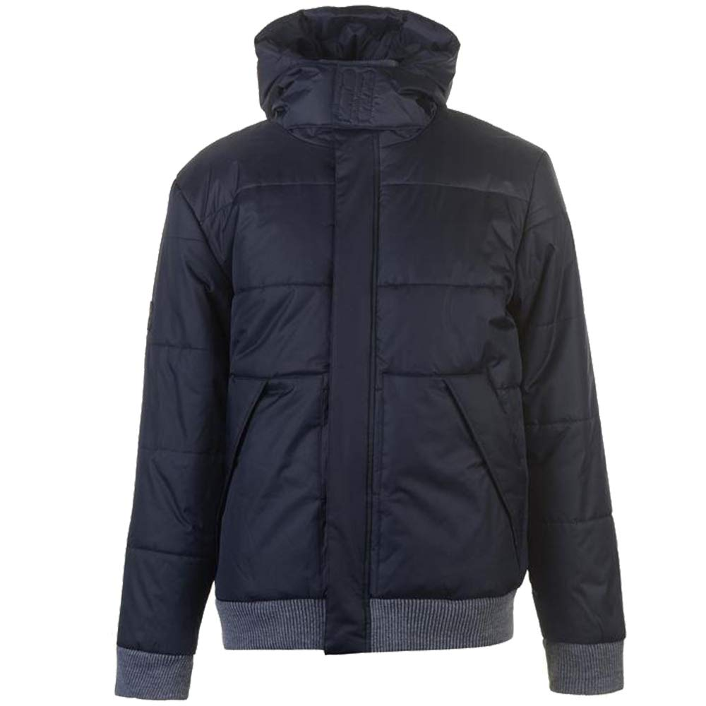 Mens Branded Lee Cooper Stylish Hood Full Zip Top Rib Padded Jacket Size S-XXXL