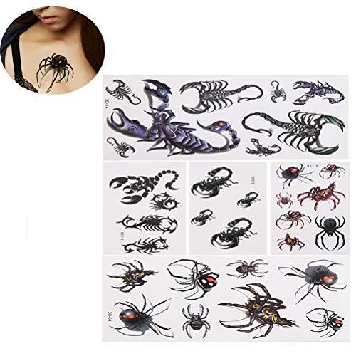Ujuuu 5 Pcs Spider Scorpion Insects Fake Temporary Tattoo Sticker, Temporary Body Art Tattoo for Women Men, Waterproof Design