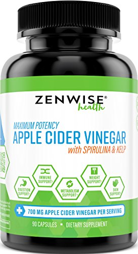 700 Mg 90 Capsules (Apple Cider Vinegar Capsules - With Spirulina & Kelp + Vitamin B6 - 700 MG Natural ACV Powder Supplement for Digestion & Weight Loss + Skin & Immune System Support - 90 Count)