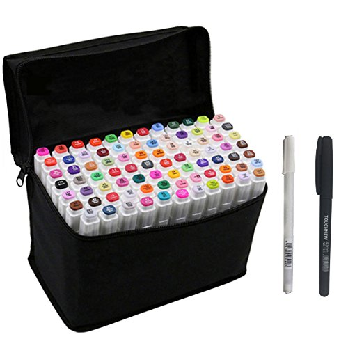 RONGXIANG 80 Colors Set Art Dual Tips Marker Pens with Fine and Broad Tip Sketch Mark Pen (80)