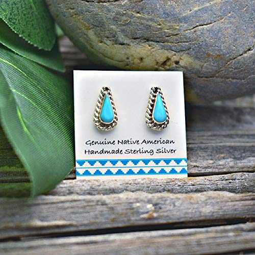 - 9mm Genuine Sleeping Beauty Turquoise Stud Earrings in 925 Sterling Silver, Teardrop Shape with Braid, Authentic Navajo Native American, Handmade in the USA, Nickle Free