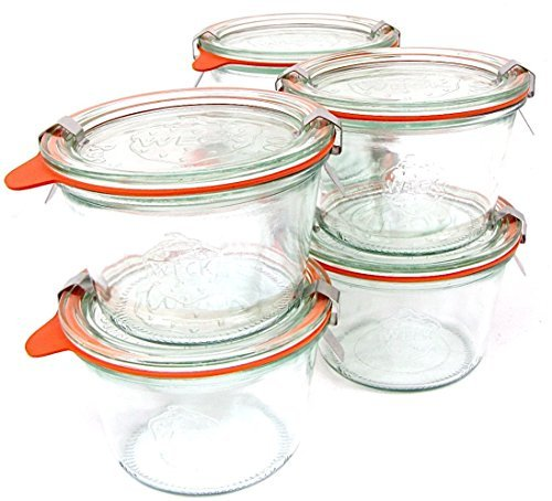 Weck 741 - 0.25 Liter Mold Jars with Lids - 6 Rings and 12 Clamps (Weck Canning Jars)