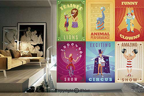 Decorative Privacy Window Film/Circus Characters with Trained Animals the Strong Man Trapeze Artist Retro Show Design/No-Glue Self Static Cling for Home Bedroom Bathroom Kitchen Office Decor Multi